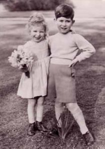 Prince Charles and Princess Anne-Prince Charles in a Winston Churchill, Randolph Churchill pose.