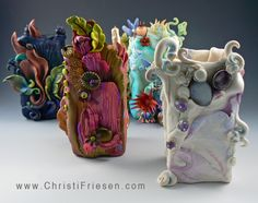 Square Vessels series. Embellished polymer by Christi Friesen. These were delightfully fun to create! #polymer #objetsDart #vessel #christiFriesen