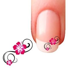 10 Stickers Bijoux Ongles  Hibiscus Design - nail art