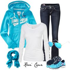 """""""Just kicking it"""" by keri-cruz on Polyvore   I would wear this outfitt all the time!!! Adorable and has one of my favorite shades of blue in it!! Plus, it looks comfortable too."""