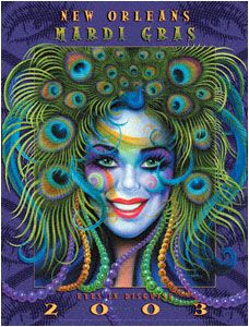 """Artwork for New Orlean's, LA 2003 Mardi Gras poster - """"Eyes in Disguise"""" by Andrea Mistretta"""