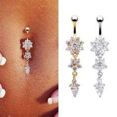 New Dangle Snowflake Chain Piericing Ring Rhinestone Body Piercing Dangle Crystal Navel Belly Button Bar Barbell Rings - On Trends Avenue
