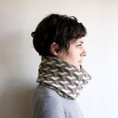 Knit Cowl Circle Scarf Geometric Optical Illusion by SourpussKnits