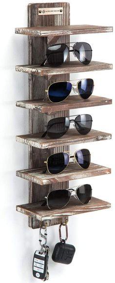 Sunglasses Organizer, Sunglasses Storage, Sunglasses Holder, Plastic Display Stands, Watch Storage, Rustic Wood Walls, Retail Store Design, Eyeglass Holder, Wood Display