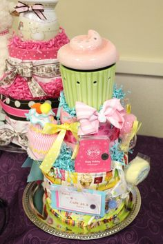 Cupcake diaper cake (with Scentsy products) Made by Cute as a Button gift cakes decor and more