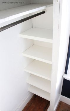 A DIY tutorial to install easy closet shelves. Make your closet functional and organized with simple shelves you can install. A DIY tutorial to install easy closet shelves. Make your closet functional and organized with simple shelves you can install. Closet Renovation, Closet Remodel, Bedroom Closet Design, Closet Designs, Bedroom Storage, Bedroom Closet Doors, Closet Curtains, Entryway Closet, Closet Office