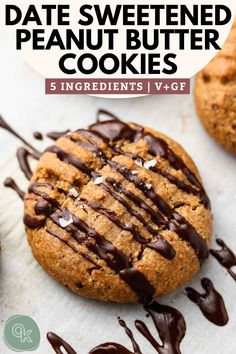 These Vegan Date Sweetened Peanut Butter Cookies are insanely easy to make, perfectly chewy and tender on the inside. Made with just 5 wholesome ingredients, this recipe is naturally gluten free, oil free and refined sugar free! Healthy Vegan Cookies, Vegan Peanut Butter Cookies, Gluten Free Cookies, Vegan Sweets, Healthy Food, Heart Healthy Desserts, Healthy Sweets, Healthy Eating, Vegan Dessert Recipes