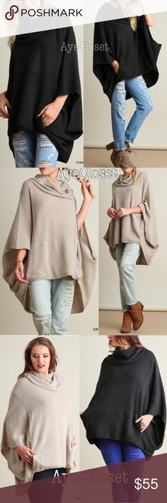 Plus size oversized poncho style sweater new sold Plus size Oatmeal or Deep Charcoal Oversized loose fit stunning poncho cape settle cowl neck sweater cardigan.  Sexy Coverup. Pairs with jeans , basic leggings and sexy leathers leggings. Fabric content : cotton 60% and 40% spandex. Medium weight  comfy fabric. New.retail item. ‼️Price is firm unless bundled‼️please mention color choose when purchasing ‼️ Boutique Sweaters Shrugs & Ponchos