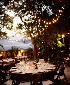 Strings lights above your outdoor dining space whether it's a large party or individual dining guest.