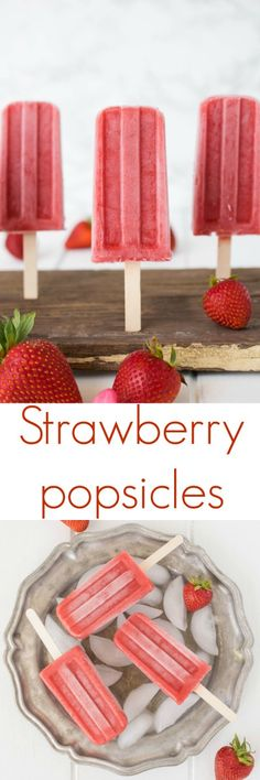 Strawberry popsicles. Easy to make with just 3 ingredients, strawberries, pineapple juice and honey.