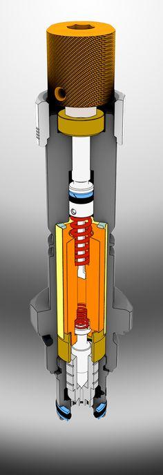 Hydraulic solenoid operated valve cutaway illustration rendered in Keyshot.