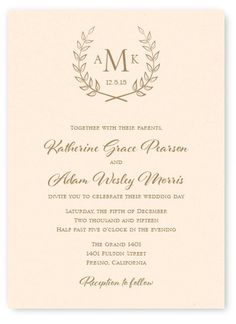 Laurel wedding invitation from The American Wedding. Save $25 off your $99 purchase with promo code super25. http://www.theamericanwedding.com/compass-wedding-invitations.html