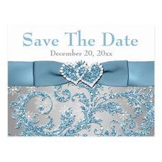 Winter Wonderland, Hearts Save the Date Postcard