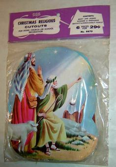 """1963 Eureka 'Christmas Religious Cutouts' Die Cut Decorations. Package Contains 6 Designs: Madonna And Child, Three Kings And Gifts, Mary, Joseph And Donkey, Holy Family, Shepherds, Wise Men. Sizes: 6 3/4"""""""