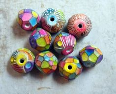 3 Colorful Artisan Beads Handmade from Polymer Clay