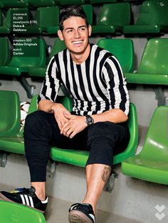 Pegged as the next Cristiano Ronaldo, Colombian footballer James Rodriguez appears in a cheeky spread for the May 2015 issue of GQ. Rodriguez is photographed by… James Rodriguez, Everton, Fifa, Gq Usa, Sport Fashion, Mens Fashion, Equipe Real Madrid, Casual Wear For Men, Soccer Stars