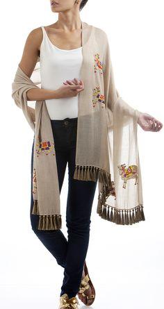Nandi embroidered shawl with gold tassles by JANAVI. Shop at https://www.perniaspopupshop.com/sweet-spot/janavi