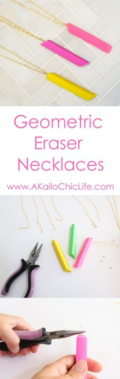 Learn to craft necklaces out of colorful erasers. Easy Jewelry making tutorial, back to school, teacher appreciation gift ideasCraft It - A Back To School Eraser Necklace