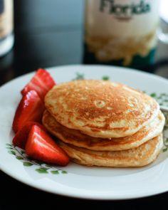 whole grain orange-vanilla pancakes made with greek yogurt!