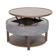 Neville Lift-Top Round Storage Coffee Table, Ash Gray/Walnut - Transitional - Coffee Tables - by New Pacific Direct Inc.
