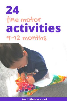 These activity ideas help your 9 to 12 month old baby develop their physical skills (fine motor development). The activities are easy and don't take long to set up so you can do them at home with your baby. 9 Month Old Baby Activities, Fun Activities For Toddlers, Infant Activities, Eyfs Activities, Motor Skills Activities, Fine Motor Skills, Toddler Development, Physical Development, Baby Sensory Play
