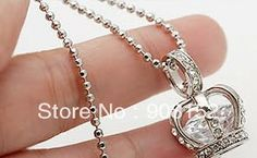 Min order is $9.9(mix order) Fashion Crown Pendant Necklace with Crystal Zircon Sweater Chain Jewelry Cage Drop Shipping Offered US $1.02
