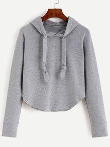 Grey Raglan Sleeve Hooded Sweatshirt