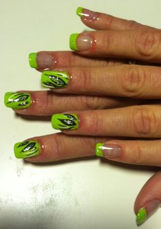 Lime green with black and glitter accents