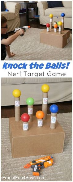 """""""Knock the Balls!"""" DIY Kids Nerf Target Game Tutorial via Frugal Fun 4 Boys – Kn… """"Knock the Balls!"""" DIY Kids Nerf Target Game Tutorial via Frugal Fun 4 Boys – Knock the Balls Down Nerf Target Game – Super boredom buster, and a fun party idea too! Indoor Birthday, Carnival Games For Kids, Carnival Tent, Homemade Carnival Games, Indoor Activities For Kids, Family Activities, Summer Activities, Summer Games, Party Activities"""