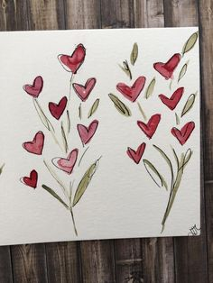 I create one of a kind watercolor cards. by HollBellArt : Heart Valentine Card Handmade Valentine Card Watercolor Valentines Watercolor, Watercolor Cards, Watercolor Heart, Valentine Day Cards, Valentine Crafts, Easy Flower Painting, Homemade Cards, Doodle Art, Note Cards