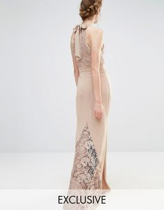 Jarlo Wedding High Neck Lace Maxi Dress with Bow Back