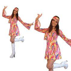 Fancy Dress Costume Flower Power Hippie Hippy Retro GoGo - All Sizes Halloween Fancy Dress, Halloween Outfits, 1960s Costumes, Ladies Fancy Dress, Hippie Dresses, Complete Outfits, Retro Dress, Costumes For Women, Fashion Dresses