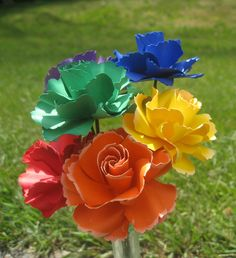 Rainbow Wild Roses, Half A Dozen. Red, Orange, Yellow, Green, Blue, Purple.  OTHER colors available as well. Wedding, Paper Flower Bouquet by TreeTownPaper on Etsy