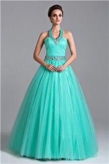 Ball Gown Halter Floor-length Organza Prom Dress