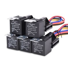 12V 30/40 amp 5 pin SPDT automotive relay with wires + harness socket 5 pcs