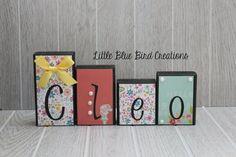 Personalized Children's Name Wooden by littlebluebirdcreate www.littlebluebirdcreations.com #etsy #handmade #woodblocks #woodletters #personalized