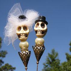 Day of the Dead Sugar Skull SMALL wedding Cake Topper white veil black rose NEW