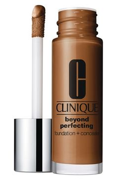 Free shipping and returns on Clinique 'Beyond Perfecting' Foundation + Concealer at Nordstrom.com. What it is: A foundation and concealer in one that gives you a natural, beyond-perfect look that lasts all day.Who it's for: Anyone with any skin type who wants adjustable coverage and a natural matte finish.What it does: The lightweight, moisturizing, oil-free formula covers thoroughly without clogging pores, allowing your skin to breathe comfortably and keeping color true even through sweat…