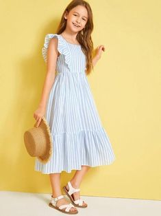 Style: Cute, BohoColor: Blue, PastelPattern Type: StripedNeckline: Square NeckDresses Length: LongType: SmockDetails: Ruffle, Ruffle Hem, ZipperSleeve Length: Cap SleeveSleeve Type: Butterfly SleeveSeason: SummerComposition: 65% Polyester, 35% SpandexMaterial: PolyesterFabric: Fabric has no stretchWaist Line: High WaistHem Shaped: FlounceSilhouette: Fit and Flare Girls Fashion Clothes, Kids Fashion, Fashion Dresses, Girls Casual Dresses, Little Girl Dresses, Little Girl Clothing, Work Dresses, Dresses Dresses, Party Dresses