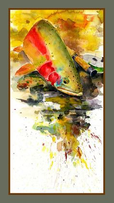 Spring Catch - Canvas Print  Trout watercolor.  Fly fishing painting by Clayton Stewart.