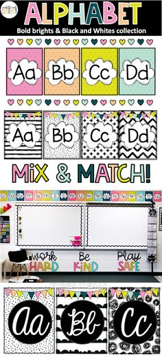 Alphabet posters with bright and bold designs to add to your classroom decor. Perfect for your Kindergarten, Elementary or Homeschool Classrooms! Preschool Classroom Themes, Classroom Wall Decor, 3rd Grade Classroom, Middle School Classroom, Classroom Walls, New Classroom, Classroom Posters, Classroom Design, Classroom Organization