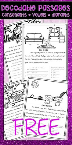 Decodable text passages free pairs well with orton gillingham phonics first These FREE fully decodable reading passages are perfect activities for kindergarten or first-grade students who are learning to sound out words and increase their reading fluency. Teaching Phonics, Phonics Activities, Kindergarten Activities, Teaching Reading, Reading Fluency Activities, Reading Intervention Activities, Short Vowel Activities, Dyslexia Activities, Phonological Awareness Activities