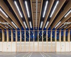 Image 3 of 27 from gallery of Sports Center Sargans / Ruprecht Architekten + HILDEBRAND. Photograph by Roman Keller Wood Architecture, Sustainable Architecture, Architecture Details, Contemporary Architecture, Building Exterior, Building Design, Wood Structure, Wood Construction, Roman