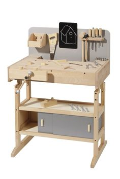 Kids Workbench, Childrens Workbench wooden made Toddler Toys, Baby Toys, Kids Toys, Kids Tool Bench, Diy Montessori, Kids Workbench, Play Wood, Knock On Wood, Construction For Kids