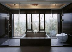 Z House, Stunning Architecture of a Modern House by Korean Architect – Concrete Bathtub Beautiful Bathrooms, Modern Bathroom, Master Bathroom, Open Bathroom Design Ideas, Concrete Bathtub, Bathroom Collections, Architecture, House Design, Bathrooms