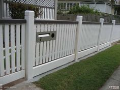 untidy concrete strip, too much space under pickets Front Yard Fence, Fence Gate, Fencing, Picket Fences, White Picket Fence, Outdoor Spaces, Outdoor Decor, Door Furniture, Backyard Fences
