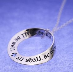 "This Christian jewelry necklace is engraved with a quotation from one of the most well known and loved passages from her book and brings comfort today just as it has for centuries before - ""all shall be well"". #Easter #gifts #jewelry #necklace"