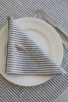 Pure linen napkins set. Linen cloth napkins. Table napkins. Stonewashed linen striped napkins. Linen Tablecloth, Linen Napkins, Cloth Napkins, Napkins Set, A Table, Dinner Table, White Napkins, Wedding Napkins, Striped Linen