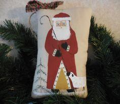 Primitive Christmas Shepherd Santa Wall Hanging Pillow Tuck Lamb Folk Art by auntiemeowsprims on Etsy