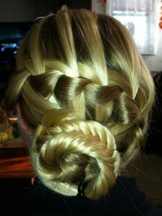 french braid fishtail bun twist